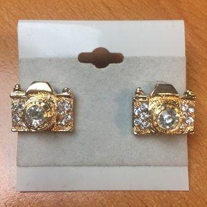 New Gold Camera Stud Earrings
